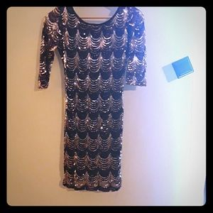 A Crystal doll sequined cocktail dress.